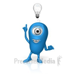 ID# 17678 - Character Light Bulb Idea - Presentation Clipart