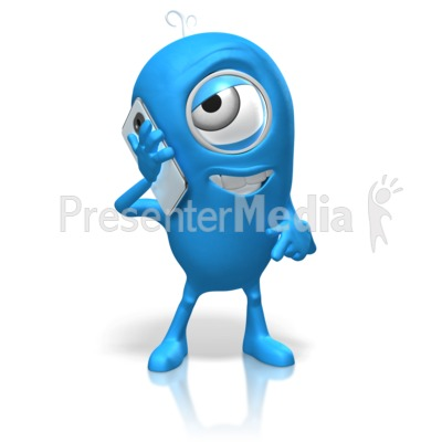 Character Talking Cell Phone PowerPoint Clip Art