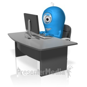 ID# 17692 - Character At Computer - Presentation Clipart