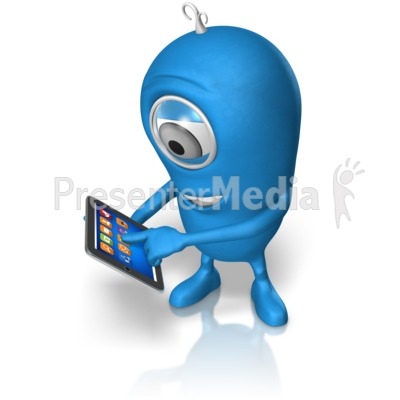 Character Holding Tablet PowerPoint Clip Art
