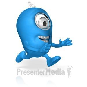 ID# 17696 - Character Run Reaching - Presentation Clipart