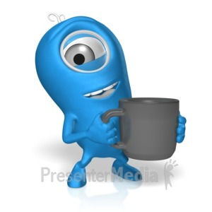 ID# 17700 - Character With Coffee - Presentation Clipart