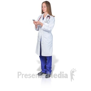 ID# 17716 - Female Doctor or Nurse Texting Phone - Presentation Clipart