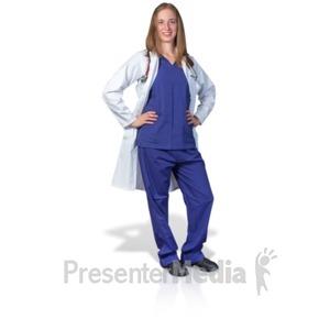 ID# 17724 - Female Doctor or Nurse Pose - Presentation Clipart