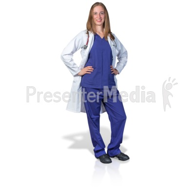 Female Doctor or Nurse Pose PowerPoint Clip Art