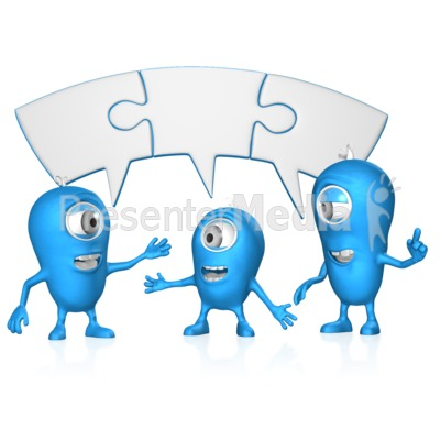 Joined Puzzle bubble Group Coversation PowerPoint Clip Art
