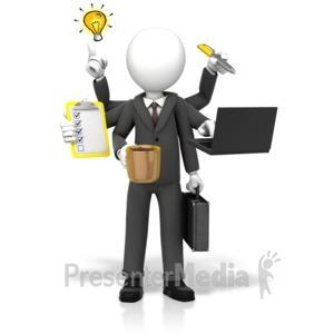 ID# 17779 - Businessman Multi Tasking - Presentation Clipart
