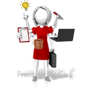 ID# 17780 - Businesswoman Multi Tasking - Presentation Clipart