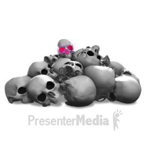 ID# 17794 - Spooky Pile Of Skulls Illuminate - Presentation Clipart