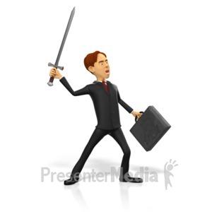 ID# 17830 - Businessman Raise Sword - Presentation Clipart