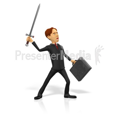 Businessman Raise Sword PowerPoint Clip Art