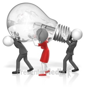 ID# 17840 - Business People Carry Light Bulb - Presentation Clipart