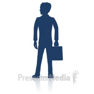 ID# 17902 - Business Man Stand Silhouette - Presentation Clipart