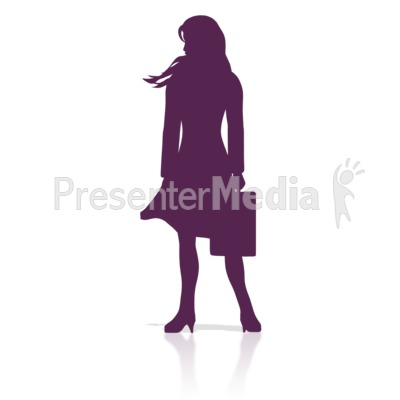 Business Woman Stand Silhouette PowerPoint Clip Art