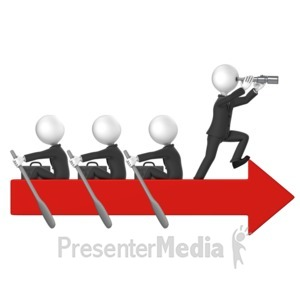 ID# 17907 - Business Men Row Arrow - Presentation Clipart