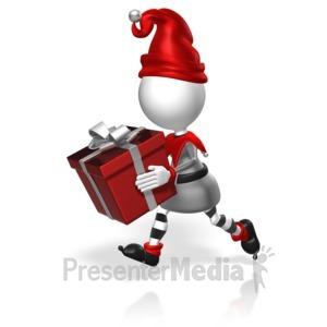 ID# 17972 - Elf Run Present - Presentation Clipart
