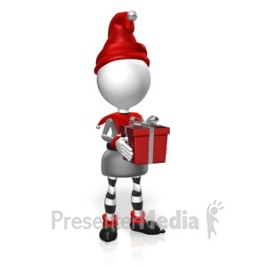ID# 17973 - Elf Hold Present 2 - Presentation Clipart