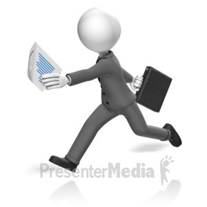 ID# 17990 - Businessman Run Paperwork - Presentation Clipart
