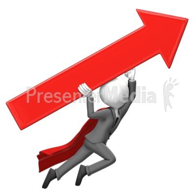 Businessman Fly Arrow PowerPoint Clip Art