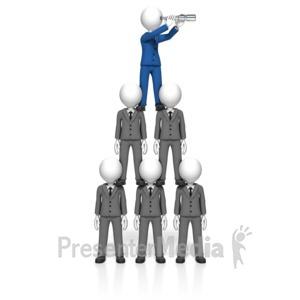 ID# 18000 - Businessman Pyramid Spyglass - Presentation Clipart