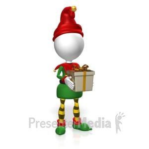 ID# 18001 - Elf Hold Present - Presentation Clipart