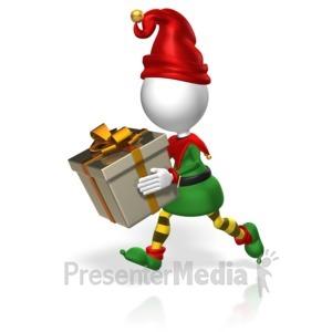 ID# 18002 - Elf Run Present - Presentation Clipart