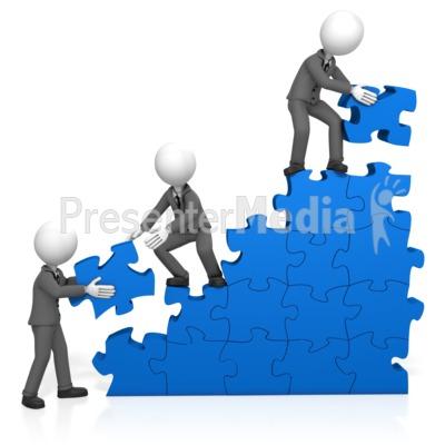 Businessmen Build Puzzle Stairs PowerPoint Clip Art