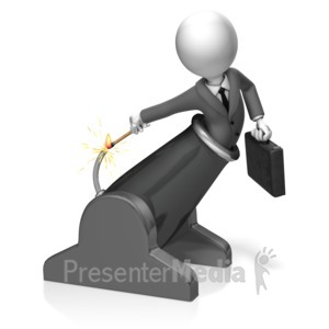 ID# 18009 - Businessman Light Cannon - Presentation Clipart