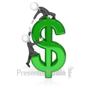 ID# 18010 - Businessmen Climb Dollar - Presentation Clipart