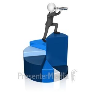ID# 18022 - Businessman Chart Spyglass - Presentation Clipart