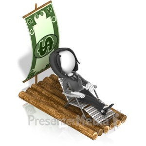 ID# 18088 - Business Woman Money Raft - Presentation Clipart
