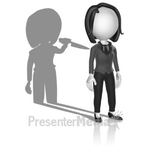 ID# 18093 - Shadow Holding Knife - Presentation Clipart