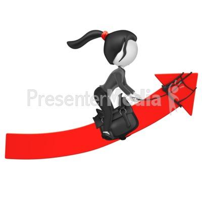 Businesswoman Figure Riding Up Arrow PowerPoint Clip Art