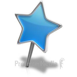 ID# 18104 - Star Pin Angled - Presentation Clipart