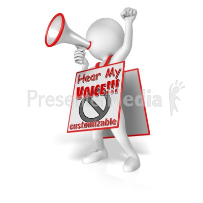 Figure With Megaphone Wearing Sign Presentation clipart