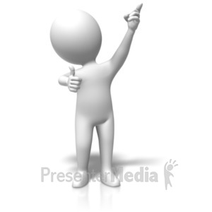ID# 18146 - Figure Thumb Pointing Up - Presentation Clipart