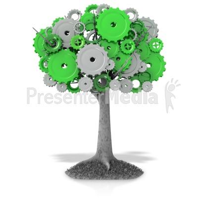 Gear Tree PowerPoint Clip Art
