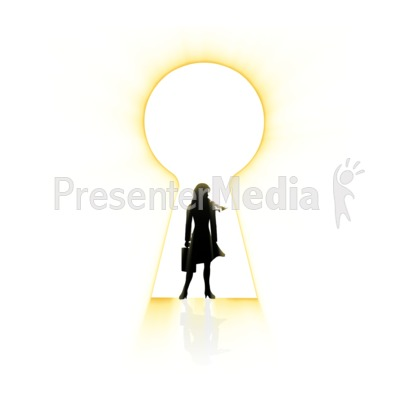 Businesswoman Silhouette In Keyhole Presentation clipart