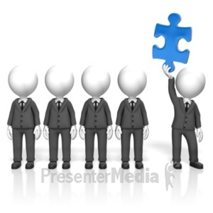 ID# 18288 - Businessmen Puzzle Stand Out - Presentation Clipart