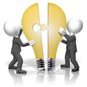 ID# 18324 - Businessmen Merge Idea - Presentation Clipart