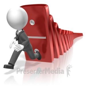 ID# 18328 - Businessman Run Dominos - Presentation Clipart