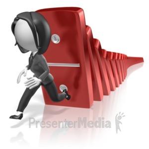 ID# 18329 - Business Woman Run Dominos - Presentation Clipart