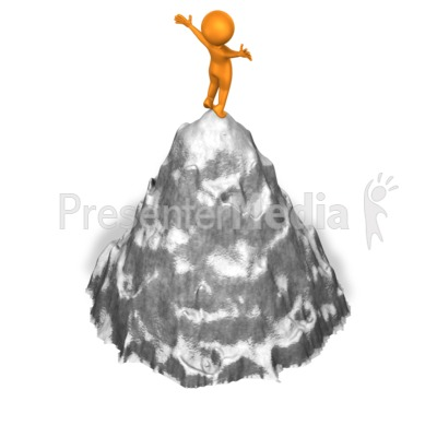 Figure On Mountaintop PowerPoint Clip Art