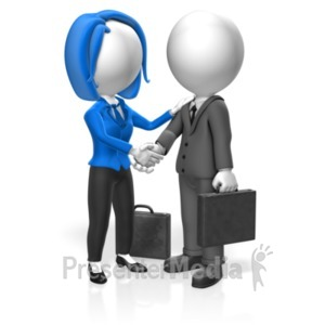 ID# 18360 - Business People Greet - Presentation Clipart