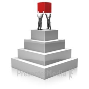 ID# 18375 - Businessmen Build Pyramid - Presentation Clipart