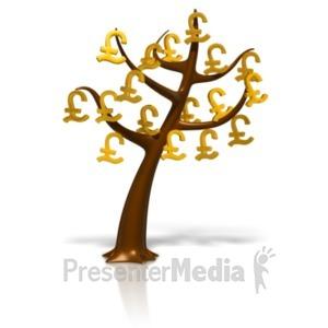 ID# 18389 - Pound Symbol Money Tree - Presentation Clipart
