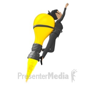 ID# 18395 - Businesswoman Flying On Idea Lightbulb - Presentation Clipart