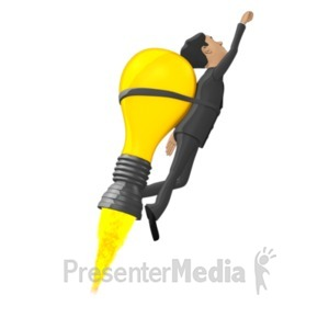 ID# 18396 - Businessman Flying On Idea Lightbulb - Presentation Clipart