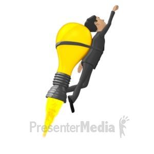 ID# 18396 - Businessman Flying On Idea Lightbulb - Presentation Clipart
