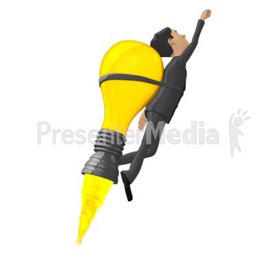 Businessman Flying On Idea Lightbulb PowerPoint Clip Art